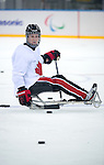 Sochi, RUSSIA - Mar 1 2014 -  Dominic Larocque during the team's first practice before the 2014 Paralympics in Sochi, Russia.  (Photo: Matthew Murnaghan/Canadian Paralympic Committee)