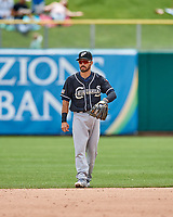 Carlos Asuaje (2) of the El Paso Chihuahuas on defense against the Salt Lake Bees in Pacific Coast League action at Smith's Ballpark on April 30, 2017 in Salt Lake City, Utah.   El Paso defeated Salt Lake 3-0. This was Game 1 of a double-header. (Stephen Smith/Four Seam Images)