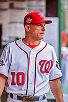 26 September 2018: Washington Nationals bench coach Chip Hale looks out from the dugout prior to a game against the Miami Marlins at Nationals Park in Washington, DC. The Nationals defeated the visiting Marlins 9-3, closing out Washington's 2018 home season. Mandatory Credit: Ed Wolfstein Photo *** RAW (NEF) Image File Available ***
