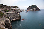 The township of Sant' Angelo in the southern end of Ischiaa island in the Tyrrhenian Sea, at the northern end of the Gulf of Naples, Italy.