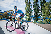 Tom Van Asbroeck (BEL/Israel - StartUp Nation) arriving at the iconic Roubaix velodrome<br /> <br /> reconnaissance of the (delayed, due to the Covid19 pandemic) Paris-Roubaix course by Team Israel - StartUp Nation <br /> <br /> Nord-Pas de Calais region (FRA), 17 july 2020<br /> ©kramon