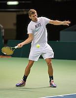 Switserland, Genève, September 16, 2015, Tennis,   Davis Cup, Switserland-Netherlands, Practise Swiss team, Henri Laaksonen<br /> Photo: Tennisimages/Henk Koster