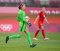 KASHIMA, JAPAN - AUGUST 2: Stephanie Labbe #1 of Canada holds the ball during a game between Canada and USWNT at Kashima Soccer Stadium on August 2, 2021 in Kashima, Japan.