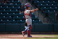 Hickory Crawdads catcher David García (13) on defense against the Winston-Salem Dash at Truist Stadium on July 10, 2021 in Winston-Salem, North Carolina. (Brian Westerholt/Four Seam Images)