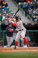 Pawtucket Red Sox second baseman Mike Miller (10) bats during a game against the Buffalo Bisons on May 19, 2017 at Coca-Cola Field in Buffalo, New York.  Buffalo defeated Pawtucket 7-5 in thirteen innings.  (Mike Janes/Four Seam Images)
