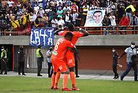 ENVIGADO - COLOMBIA, 26-10-2021:Jhon Jader Duran del Envigado celebra después de anotar el gol de su equipo durante partido por la fecha 16 entre Envigado y Millonarios como parte de la Liga BetPlay DIMAYOR II 2021 jugado en el estadio  Polideportivo Sur de Envigado. / Jhon Jader Duranof Envigado celebrates after scoring the goal of his team during match for the date  16 between Envigado  and Millonarios BetPlay DIMAYOR League II 2021 played at  Polideportivo Sur stadium in Envigado. Photo: VizzorImage / Andrés Álvarez/ Contribuidor