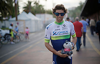 Michael Matthews (AUS/Orica-GreenEDGE) presenting Lupo, the official 2015 Giro mascotte<br /> <br /> Giro 2015 Official Team Presentation (in San Remo)