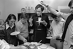 Cheese Fondu party. Very popular amongst the aspiring middle class of the time.  This group all went on to become  successful lawyers, bankers and bursars. Suburban Southfields, Wimbledon SW19. England. 1980.<br /> Man in dinner jacket is Gerald Edgar Grimstone, Lord Grimstone of Boscobel is a British businessman. He was previously chairman of Barclays Bank plc and of Standard Life and group deputy chairman of Barclays plc, the holding company for the Barclays Group