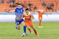 Houston, TX - Wednesday June 28, 2017: Morgan Andrews, Carli Lloyd during a regular season National Women's Soccer League (NWSL) match between the Houston Dash and the Boston Breakers at BBVA Compass Stadium.