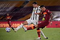 Alvaro Morata of Juventus FC and Roger Ibanez of AS Roma compete for the ball during the Serie A football match between AS Roma and Juventus FC at Olimpico stadium in Roma (Italy), September 27th, 2020. Photo Federico Tardito / Insidefoto