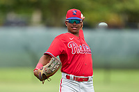 Philadelphia Phillies outfielder Jefferson Encarnacion (35) during warmups before an Extended Spring Training game against the New York Yankees on June 22, 2021 at the Carpenter Complex in Clearwater, Florida. (Mike Janes/Four Seam Images)