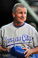 21 June 2010: Kansas City Royals third base coach Eddie Rodriguez smiles in the dugout prior to a game against the Washington Nationals at Nationals Park in Washington, DC. The Nationals edged out the Royals 2-1 in the first game of their 3-game interleague series, snapping a 6-game losing streak. Mandatory Credit: Ed Wolfstein Photo