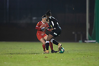Taika De Koker (20) of Femina White Star Woluwe and Henriette Awete (19) of Eendracht Aalst pictured during a female soccer game between FC Femina White Star Woluwe and Eendracht Aalst on the sixth matchday in the 2021 - 2022 season of Belgian Scooore Womens Super League , friday 8 th of october 2021  in Woluwe , Belgium . PHOTO SPORTPIX | KRISTOF DE MOOR
