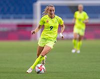 TOKYO, JAPAN - JULY 24: Kosovare Asllani #9 of Sweden dribbles during a game between Australia and Sweden at Saitama Stadium on July 24, 2021 in Tokyo, Japan.