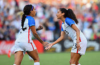San Diego, CA - Sunday July 30, 2017: Sydney Leroux, Christian Press and the U.S. Women's national team celebrate their winning goal by defeating Brazil 4-3 during a 2017 Tournament of Nations match between the women's national teams of the United States (USA) and Brazil (BRA) at Qualcomm Stadium.