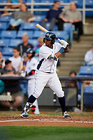 Binghamton Rumble Ponies center fielder John Mora (4) at bat during a game against the Erie SeaWolves on May 14, 2018 at NYSEG Stadium in Binghamton, New York.  Binghamton defeated Erie 6-5.  (Mike Janes/Four Seam Images)