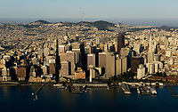 historical aerial photograph of the San Francisco waterfront and Ferry Building at the Embarcadero in the early morning, 2007