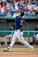 Mobile BayBears left fielder Brendon Sanger (2) follows through on a swing during a game against the Jacksonville Jumbo Shrimp on April 14, 2018 at Baseball Grounds of Jacksonville in Jacksonville, Florida.  Mobile defeated Jacksonville 13-3.  (Mike Janes/Four Seam Images)