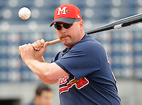 10 April 2008: Manager Phillip Wellman of the Mississippi Braves, Class AA affiliate of the Atlanta Braves, in a game against the Mobile BayBears at Trustmark Park in Pearl, Miss. Photo by:  Tom Priddy/Four Seam Images