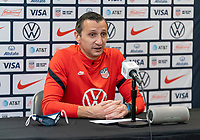 ORLANDO, FL - JANUARY 18: Vlatko Andonovski of the USWNT talks to the media after a game between Colombia and USWNT at Exploria Stadium on January 18, 2021 in Orlando, Florida.