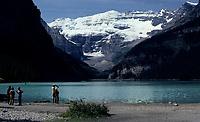 Alberta, CANADA, 1974 File Photo - lake and rocky mountain in  Banff Park