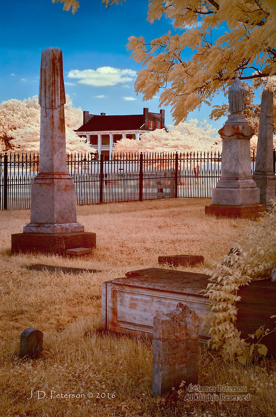 Carnton Plantation from McGavock Family Graveyard, Franklin, Tennessee (Infrared).  A Civil War battle was fought near this historic remnant of the old South.<br /> <br /> Image ©2016 James D. Peterson