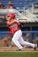 Batavia Muckdogs first baseman Eric Gutierrez (43) at bat during a game against the Brooklyn Cyclones on July 6, 2016 at Dwyer Stadium in Batavia, New York.  Batavia defeated Brooklyn 15-2.  (Mike Janes/Four Seam Images)