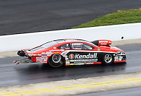 Sep 14, 2014; Concord, NC, USA; NHRA pro stock driver V. Gaines crashes during the first round of the Carolina Nationals at zMax Dragway. Gaines was uninjured in the incident. Mandatory Credit: Mark J. Rebilas-USA TODAY Sports