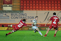 Michael Lowry of Ulster evades the tackle of Dan Davis of Scarlets during the Guinness Pro14 Round 09 match between the Scarlets and Ulster Rugby at the Parc Y Scarlets Stadium in Llanelli, Wales, UK. Friday 23 November 2018