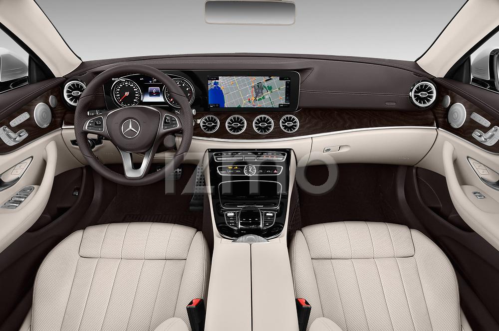 Stock photo of straight dashboard view of a 2018 Mercedes Benz E Class E400 2 Door Convertible
