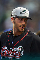 Great Lakes Loons Mike Ahmed (11) during a game against the Kane County Cougars on August 13, 2015 at Fifth Third Bank Ballpark in Geneva, Illinois.  Great Lakes defeated Kane County 7-3.  (Mike Janes/Four Seam Images)