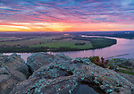Petit Jean State Park, AR: Dawn over thee Arkansas River Valley from Stout Overlook