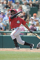 Altoona Curve outfielder Quincy Latimore (22) during game against the Trenton Thunder at Samuel L. Plumeri Sr. Field at Mercer County Waterfront Park on August 22, 2012 in Trenton, NJ.  Altoona defeated Trenton 14-2.  Tomasso DeRosa/Four Seam Images