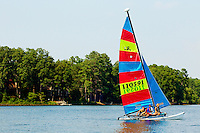 Campers at YMCA Camp Thunderbird on Lake Wylie enjoy a day on the lake. Camp Thunderbird, located in Clover SC (York County, South Carolina) is just over the Carolina border from Charlotte, NC. It is a popular overnight camp that attracts youths from around the globe.