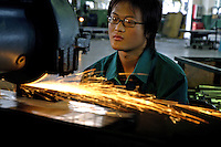 Worker in privately owned metal works factory, producing parts for major foreign companies including Fuji Xerox, Panasonic, Black & Decker and DeWalt, both for Chinese market and for export (including UK, US and Japan).