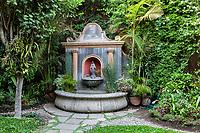 Antigua, Guatemala.  Fountain, Cafe Condesa.