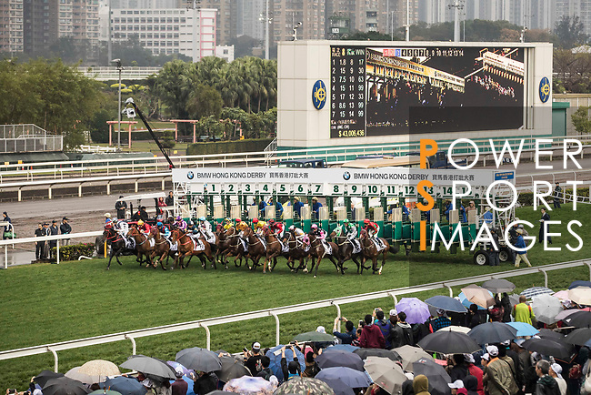 Horses take off from the barrier during the 2017 BMW Hong Kong Derby Race at the Sha Tin Racecourse on 19 March 2017 in Hong Kong, China. Photo by Chris Wong / Power Sport Images