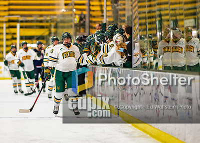 9 February 2020: University of Vermont Catamount Forward Val Caldwell, a Junior from Glenview, IL, celebrates a first period goal against the University of Connecticut Huskies at Gutterson Fieldhouse in Burlington, Vermont. The Lady Cats defeated the Huskies 6-2 in the second game of their weekend Hockey East series. Mandatory Credit: Ed Wolfstein Photo *** RAW (NEF) Image File Available ***