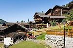 Switzerland, Canton Valais, Ayer VS at Val d'Anniviers: historic houses and water mill | Schweiz, Kanton Wallis, Ayer VS im Val d'Anniviers (Eifischtal): historische Haeuser und Wassermuehle