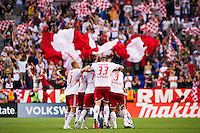 Brandon Barklage (25) of the New York Red Bulls celebrates scoring with teammates . The New York Red Bulls defeated DC United 3-2 during a Major League Soccer (MLS) match at Red Bull Arena in Harrison, NJ, on June 24, 2012.