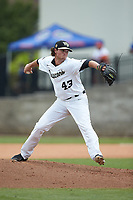Wake Forest Demon Deacons relief pitcher Griffin Roberts (43) in action against the Florida Gators in the completion of Game Two of the Gainesville Super Regional of the 2017 College World Series at Alfred McKethan Stadium at Perry Field on June 12, 2017 in Gainesville, Florida. The Demon Deacons walked off the Gators 8-6 in 11 innings. (Brian Westerholt/Four Seam Images)