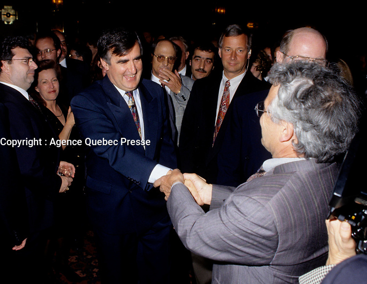"""Montreal (Qc) CANADA - File Photo - May 1996 -<br /> <br /> Lucien Bouchard,  Leader Parti Quebecois (from Jan 29, 1996 to March 2, 2001). seen in a May 1996 file photo <br /> After the Yes side lost the 1995 referendum, Parizeau resigned as Quebec premier. Bouchard resigned his seat in Parliament in 1996, and became the leader of the Parti Qu»b»cois and premier of Quebec.<br /> <br /> On the matter of sovereignty, while in office, he stated that no new referendum would be held, at least for the time being. A main concern of the Bouchard government, considered part of the necessary conditions gagnantes (""""winning conditions"""" for the feasibility of a new referendum on sovereignty), was economic recovery through the achievement of """"zero deficit"""". Long-term Keynesian policies resulting from the """"Quebec model"""", developed by both PQ governments in the past and the previous Liberal government had left a substantial deficit in the provincial budget.<br /> <br /> Bouchard retired from politics in 2001, and was replaced as Quebec premier by Bernard Landry."""