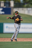 Pittsburgh Pirates Dariel Lopez (29) throws to first during a Florida Instructional League game against the Detroit Tigers on October 16, 2020 at Joker Marchant Stadium in Lakeland, Florida.  (Mike Janes/Four Seam Images)