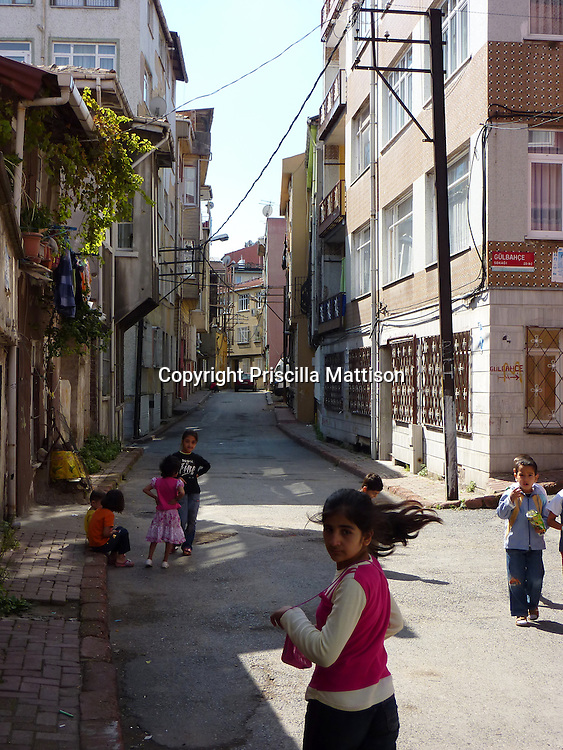 Children play on a street in Istanbul.