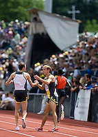 EUGENE, OR--Alan Webb greets Adam Goucher before the 2 mile during the Steve Prefontaine Classic, Hayward Field, Eugene, OR. SUNDAY, JUNE 10, 2007. PHOTO © 2007 DON FERIA