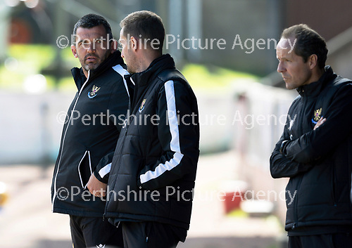 St Johnstone FC…..<br />Manager Callum Davidson pictured with first team coaches Steven MacLean and Alec Cleland<br />Picture by Graeme Hart.<br />Copyright Perthshire Picture Agency<br />Tel: 01738 623350  Mobile: 07990 594431