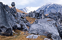 Castle Hills rock formations near Porters Pass, Canterbury, South Island, New Zealand