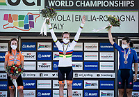 Anna van der Breggen (NED/Boels-Dolmans) is the new Road Race World Champion after winning the Time Trial title 2 days earlier.<br /> Annemiek van Vleuten (NED/Mitchelton-Scott) finishes 2nd & Elisa Longo Borghini (ITA/Trek-Segafredo) 3rd.<br /> <br /> Women's Elite Road Race from Imola to Imola (143km)<br /> <br /> 87th UCI Road World Championships 2020 - ITT (WC)<br /> <br /> ©kramon
