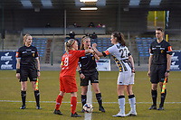 referee Heidi Houtthave , Jana Simons (8) of Woluwe , referee Jana Van Laere , Noemie Fourdin (22) of Charleroi , assistant referee Seeldrayers Michele pictured during a female soccer game between FC Femina White Star Woluwe and Sporting Charleroi on the 2nd matchday of Play off 2 in  the 2020 - 2021 season of Belgian Scooore Womens Super League , friday 16 th of April 2021  in Woluwe , Belgium . PHOTO SPORTPIX.BE   SPP   STIJN AUDOOREN