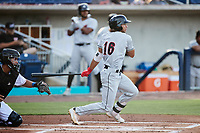 Jordan Brewer (16) of the Fayetteville Woodpeckers at bat against the Kannapolis Cannon Ballers at Atrium Health Ballpark on June 22, 2021 in Kannapolis, North Carolina. (Brian Westerholt/Four Seam Images)